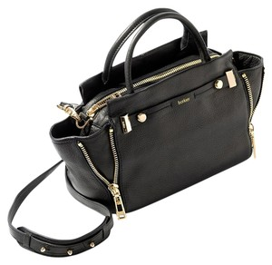 Botkier Edgy Leather Satchel in Black & Gold