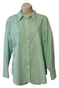 Chico's Button Down Shirt Pale Green