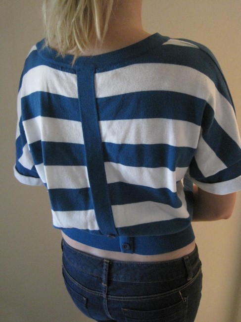 Material Girl Crop Stripe Shortsleeve Top Blue