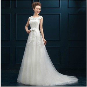 Wedding Dress Summer White Long Veils Gloves Off-shoulder A-line Wedding Dress