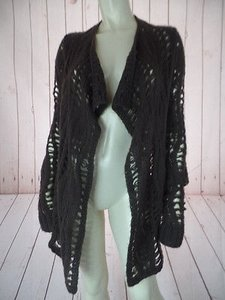 BCBGMAXAZRIA Acrylic Wool Open Front Crochet Hem Boho Hot Sweater
