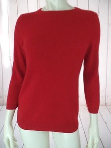 Talbots Cashmere Knit 34 Sleeves Round Neck Rib Hem Chic Sweater