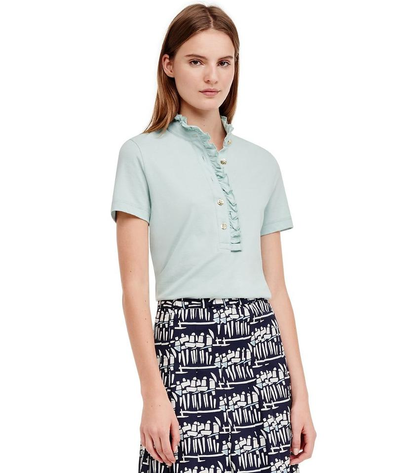 Tory burch seaside green new with tag lidia ruffle cotton for Tory burch button down shirt