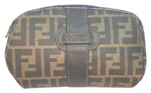 Fendi FENDI LEATHER TRIM MONOGRAM CANVAS COSMETIC BAG