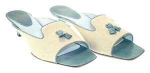 Tod's Beige/ White/ Aqua Blue Sandals