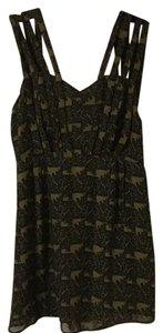 Double in Brass short dress Black/olive green on Tradesy