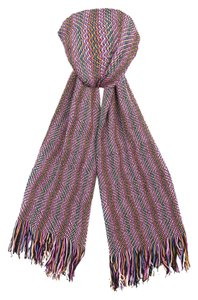 Missoni Missoni Pink/Blue Zigzag Knit Wool Blend Ladies Oversized Stole