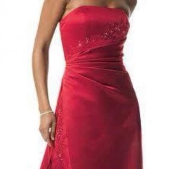 David's Bridal Apple Satin And Organza Gown with Beaded Inset Formal Bridesmaid/Mob Dress Size 8 (M)