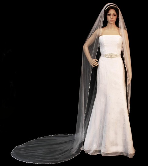 White Royal Cathedral Length Beaded Edge Wedding Veil 20 Off 13520893