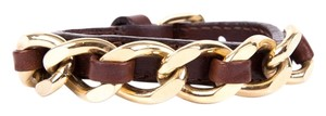 Burberry Burberry Brown Leather Bracelet With Gold Chain