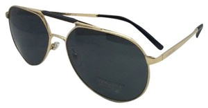 Versace New VERSACE Sunglasses VE 2155 1002/87 59-15 Gold & Black Aviator Frames w/ Grey lenses