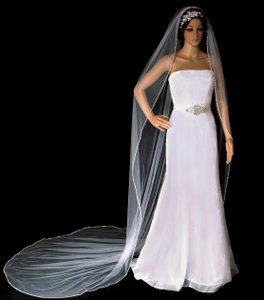 Bugle Bead Edge Royal Cathedral Length Wedding Veil In White