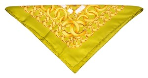 Chanel Chanel Chartreuse Scarf With Gold Chain Link Print