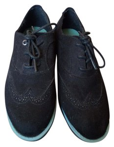 Nautica Suede Pop Of Color Oxfords Black with Teal Soles Boots
