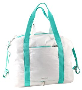 Calvin Klein White Sea Green Nylon/canvas Weekend White/Sea Green Travel Bag