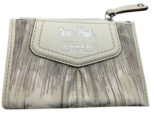 Coach Leather Wristlet in White and silver