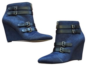 Renvy Buckles Haircalf Fur Bootie Navy Boots