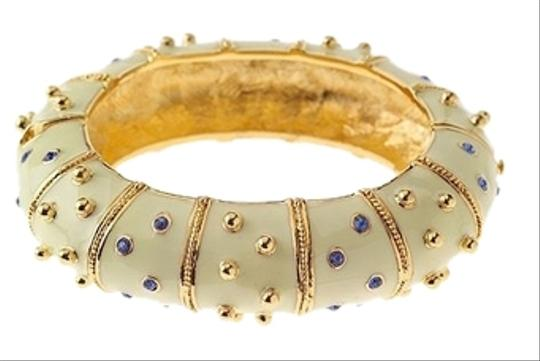 Preload https://img-static.tradesy.com/item/1352195/yellow-enamel-with-blue-accents-gold-studded-swarovsky-crystals-jackie-kennedy-collection-bracelet-0-0-540-540.jpg