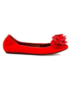 Lanvin Poppy Satin Fabric Red Flats