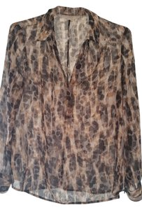Ann Taylor LOFT Top different brown tones, black and white
