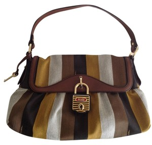 Fendi Rare Limited Edition Striped Leather Trim Shoulder Bag