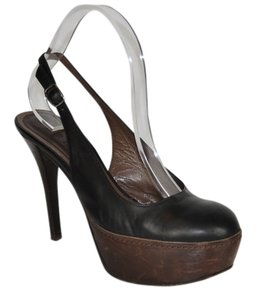 Marni Leather Platform Stiletto Heels Black And Brown Black-Brown Pumps