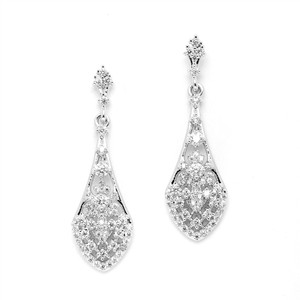 Mariell Vintage Look Rhodium Plated Cz Earrings