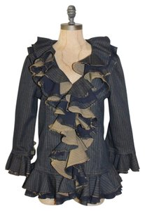 NELLI BY JANICE JARAICIE Ruffled BLUE Jacket