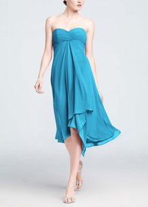 David's Bridal Pool Blue Chiffon Formal Bridesmaid/Mob Dress Size 0 (XS)
