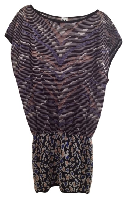M Missoni short dress Blue Leopard Print Multi-colored Knit on Tradesy