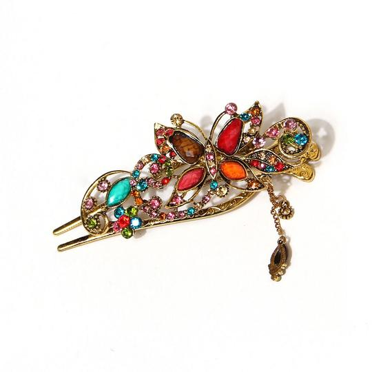 Colorful Lovely Antiqued Crystal Butterfly Bowknot Stick For Clip Antiqued Free Shipping Hair Accessory