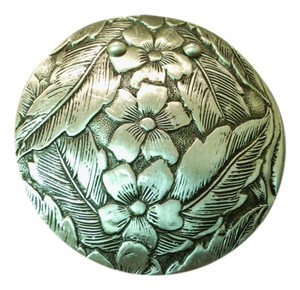 Vintage Floral Engraved Medallion Brooch Vintage Floral Engraved Medallion Brooch