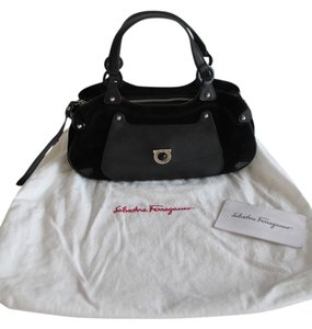 Salvatore Ferragamo Leather Suede Clutch Tote in Black