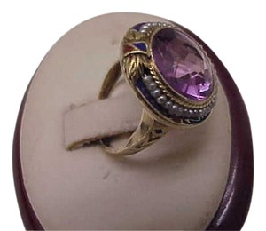 Victorian 14k yellow Gold Ring Amethyst Seed Pearl Enamel, early 1900s