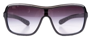 Chanel Chanel Black Shield Sunglasses With Silver Embellished Detail