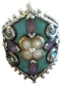 Barbara Bixby Barbara bixby stunning turquoise &amythest ring with mother of pearl & 18k gold detail