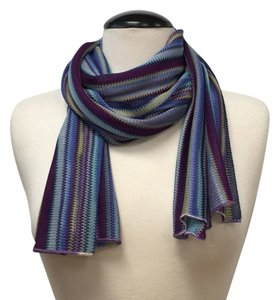 Missoni Missoni blue multicolor striped scarf