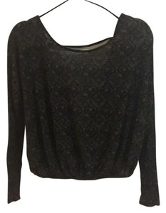 Free People Top Black patterned