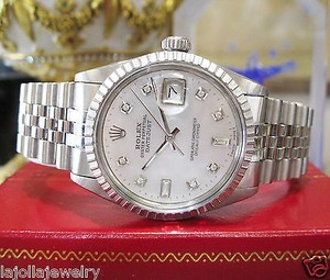 Rolex Mens Rolex Datejust Diamonds White Gold Stainless Watch