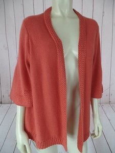 Tahari Cotton Acrylic Stretch Blend Open Front Multi Knit Chic Sweater