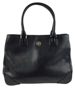 Tory Burch Leather Saffiano Tote in Black