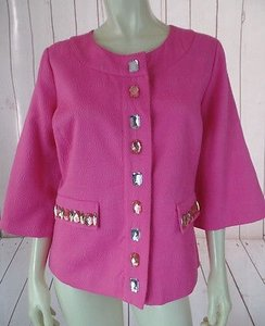 Laura Ashley Laura Ashley Blazer Pink Textured Cotton Poly Stretch Faux Jewels Retro