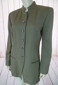 Doncaster Doncaster Blazer Olive Green Viscose Slub Silk Blend Long Torso Asian Inspired