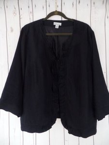 Other Kim Rogers Woman Blazer 2x Black Linen Ruffle Front 34 Sleeves Lined Chic