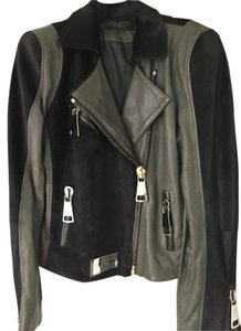 Rizal Mohair Leather Zippers Black & Olive Jacket