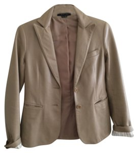 Theory Leather Vintage Beige Leather Jacket