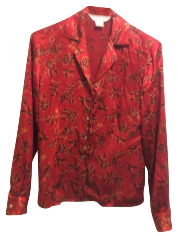 641d52dc54f9f Petite Sophisticate Red   Multi Colored Silk Blouse Size 2 (XS ...