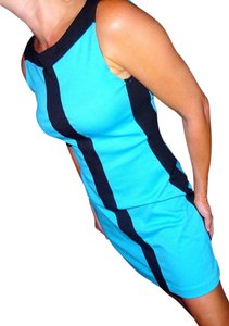 Jodi Kristopher short dress Aqua blue black Style Career Outfit on Tradesy