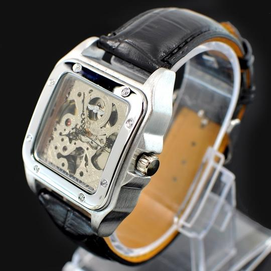 Winner Classic New Just In Men's Automatic Skeleton Square Face Watch Polished Stainless