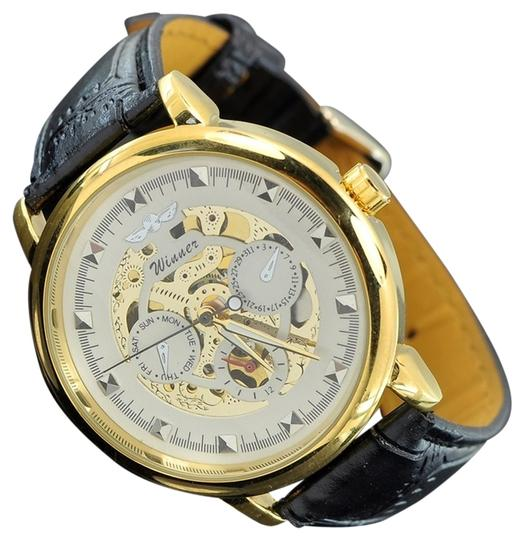 Winner Limited Edition Men's Gold Automatic Dynamic White Face Skeleton Watch Leather Band